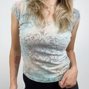 One World Lace Trim V Neck Printed Top Blue Small